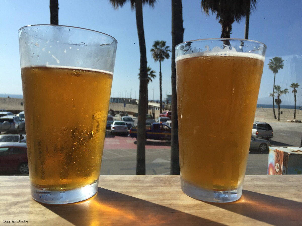 Two drafts waiting to be drunk down at The Whaler on Venice Beach.