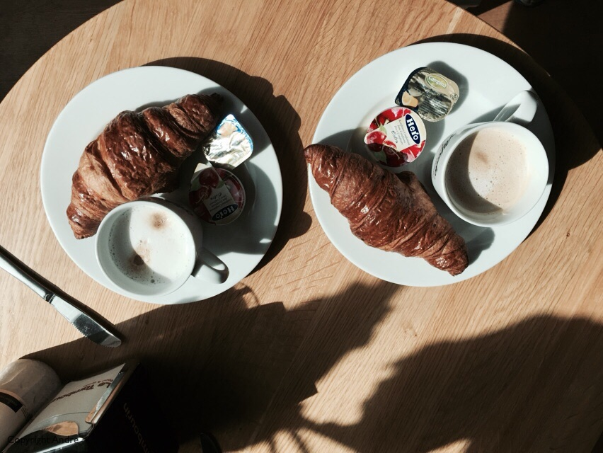 No photo's inside so here is one of coffee & croissants in the coffee shop afterwards.