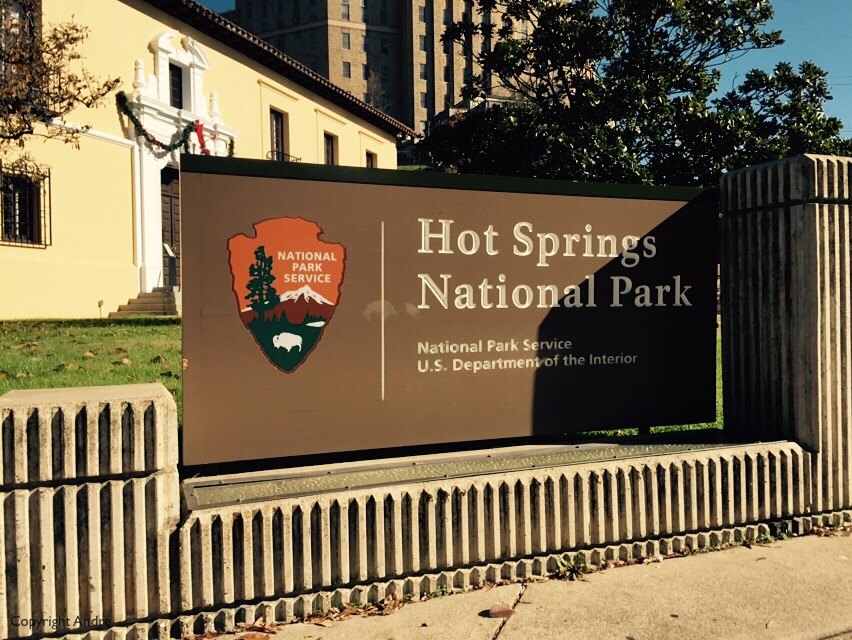 Like it says: Hot Springs National Park