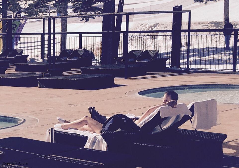 Sunbathing on the ski slopes?
