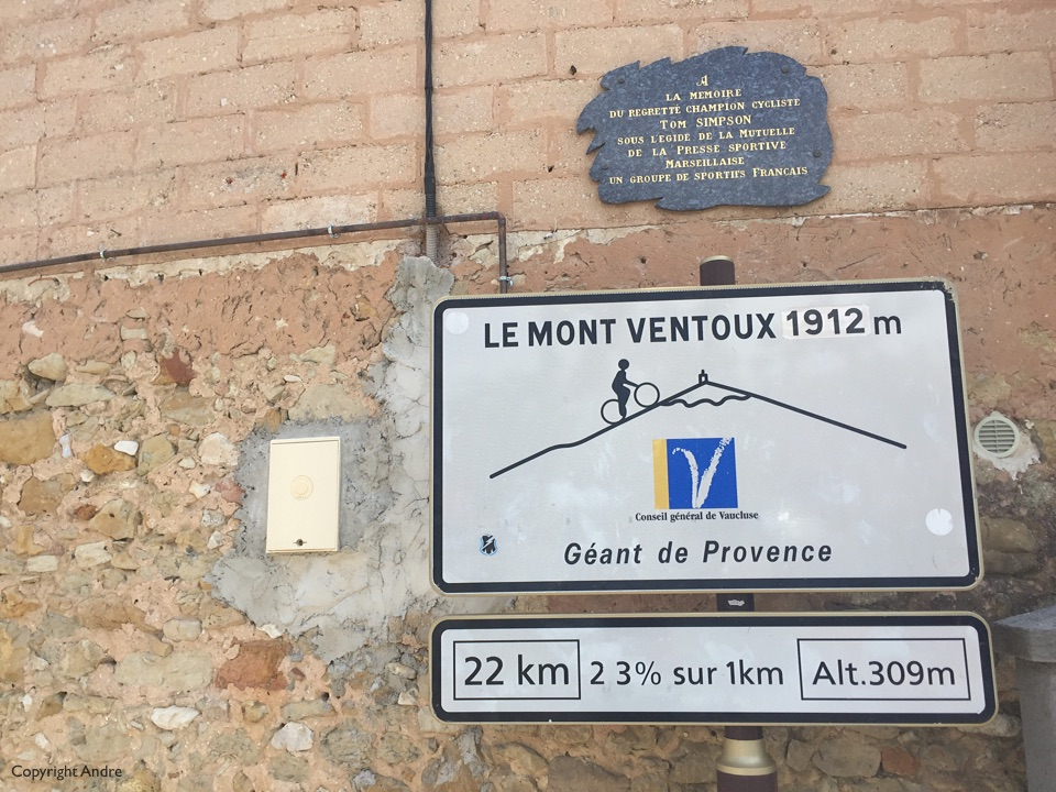 Bedoin is the official start of the climb. Zoom in and look at the plaque.