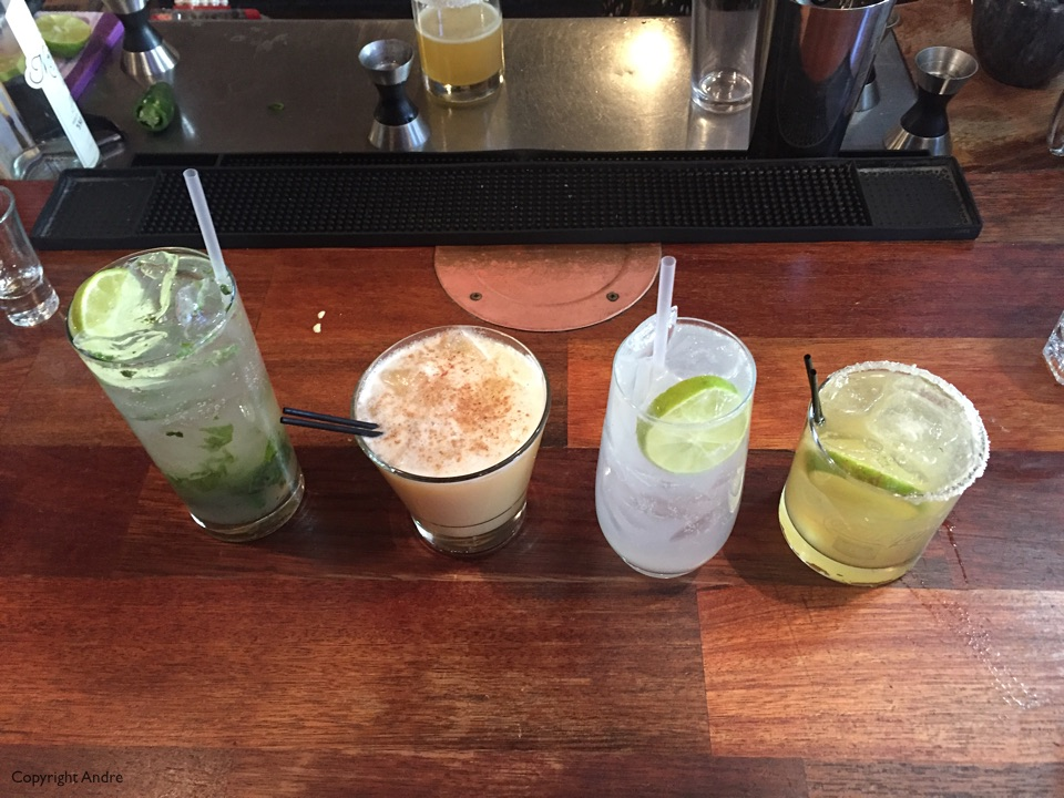 Mojito for Rose, Painkiller for Andre, Sonic for Ross & Daquire for Susan.
