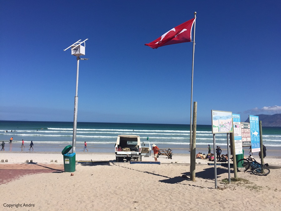 Shark flag for bathers. Red - recent sighting.