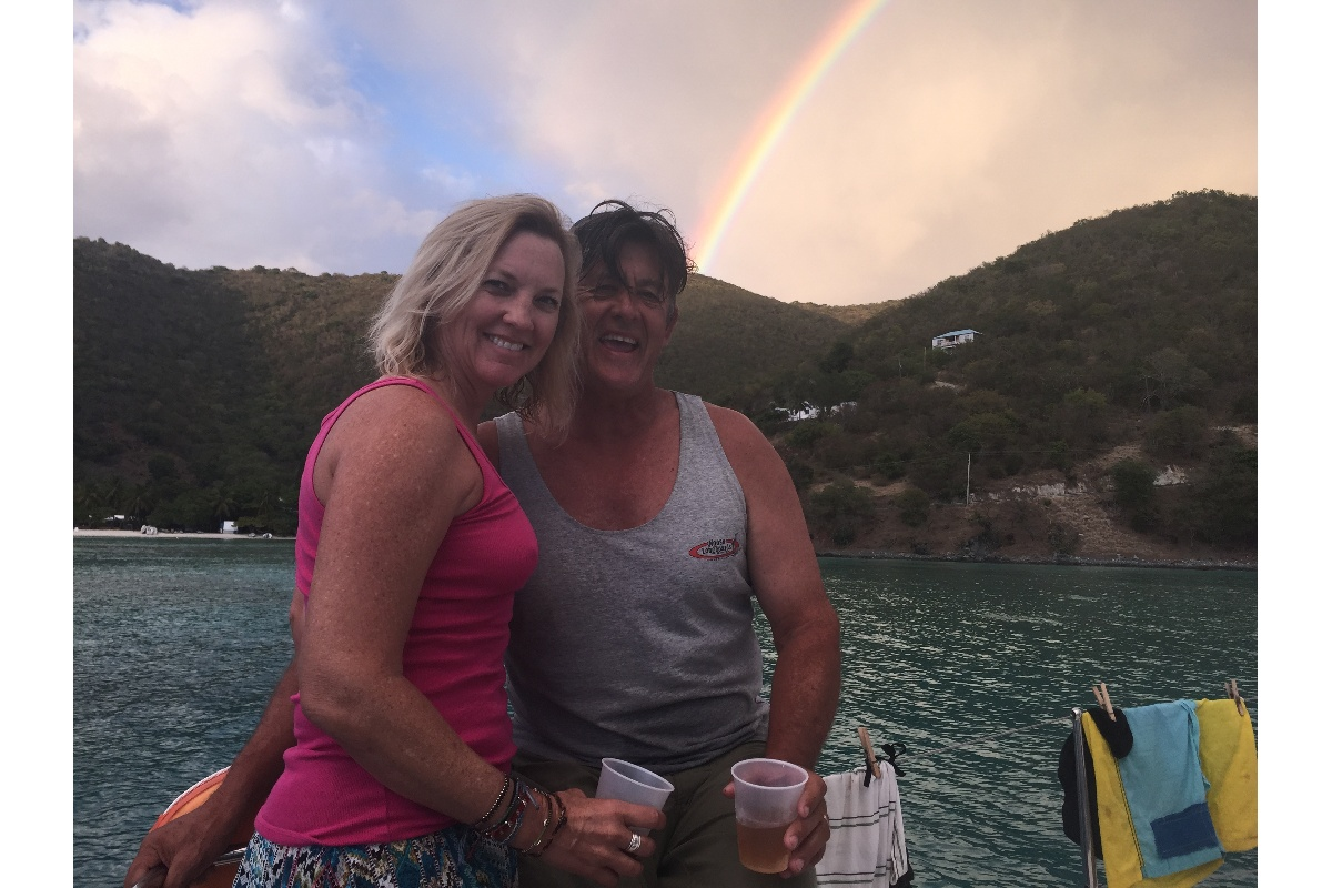 Sue & Mark with the luck of the rainbow.