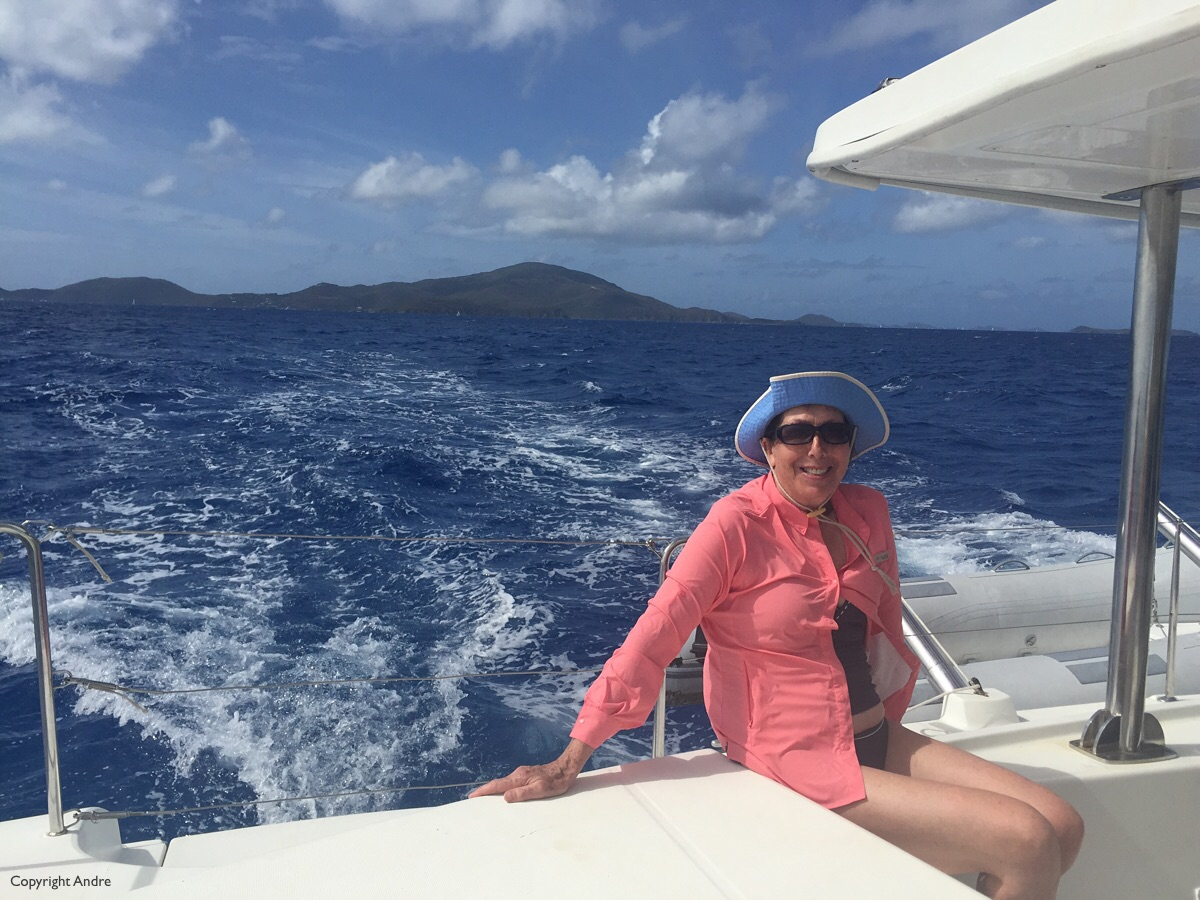 Patricia on the stern as we sail up to Anegada.