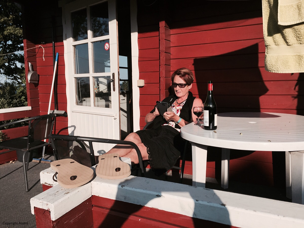 One of our favorite positions - On the deck with a glass of wine!