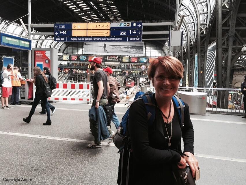 Grabbing a coffee at Hamburg station.