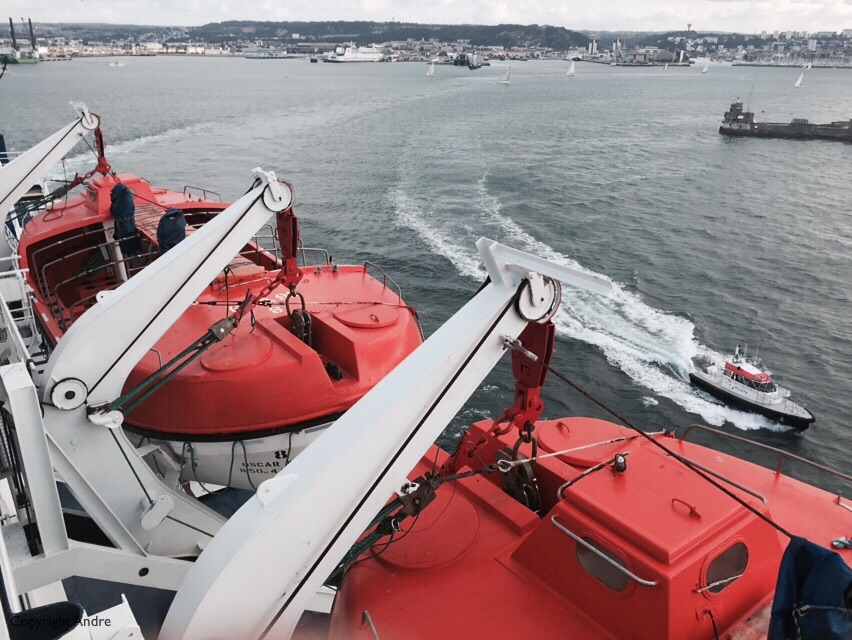 That's the pilot boat escorting us out of the harbor.