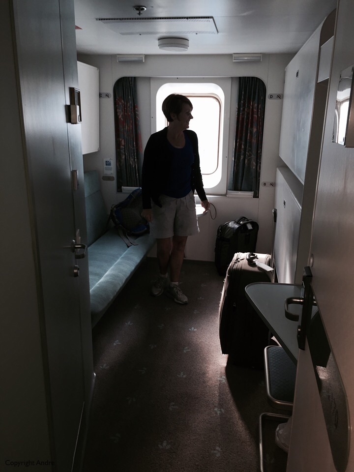 """Our cabin on Deck 6. Deck 5 is where we came on and all the restaurants etc on above on Deck 7. I had """"upgraded"""" to a cabin with a window, the cheaper ones are interior, windowless ones. I want to be able to wake up and see the ocean."""