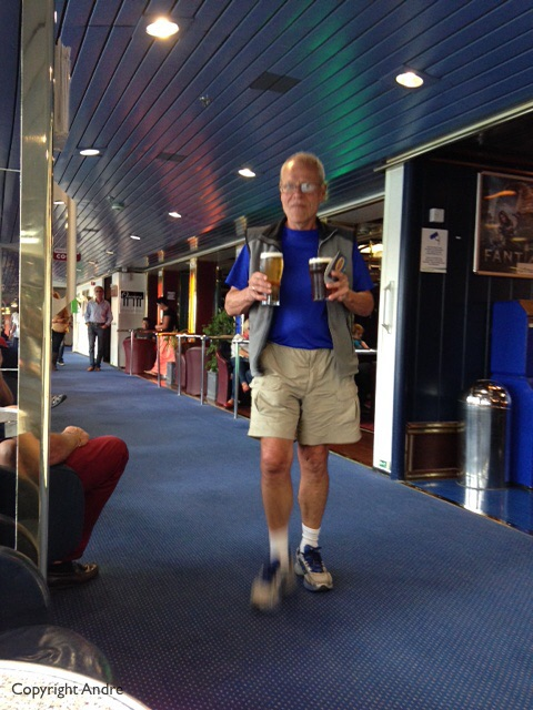 I was so excited to be on a be on a cruise that I immediately ran off and found two pints of draft to celebrate.