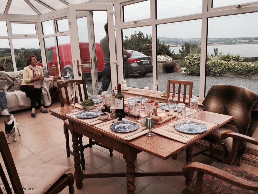 Dinner in the atrium, it's still summer isn't it?