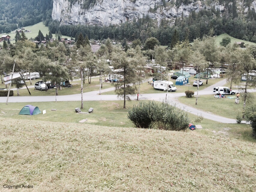 """Looking back at the """"camping"""" section of Camping Jungfrau."""