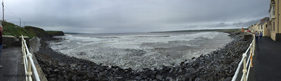 Lahinch bay. Surf a bit ruffled today.