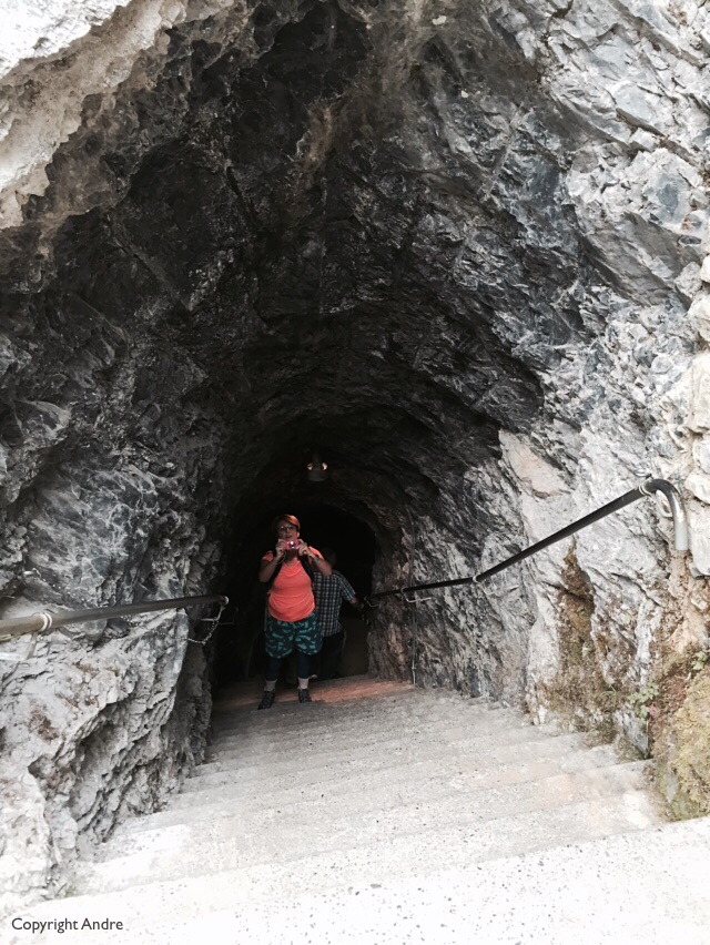 Tunnel through the rock.