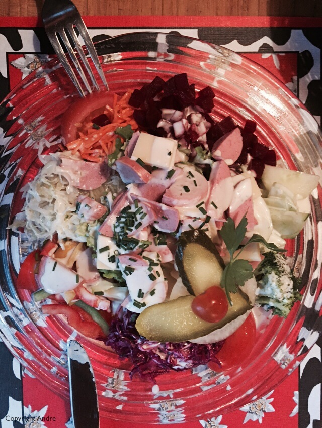 Rose's salad with sausage, cheese and everything else.