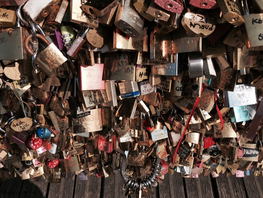 """Love Locks"" on some of the bridges. They are being removed because they are literally weighing the bridge down."