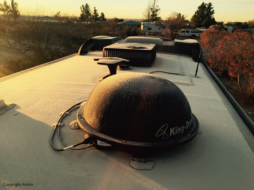Icy frost on the roof.