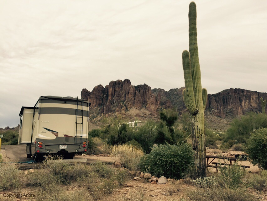 Backside of our Navion and Superstition Mountain as a backdrop.