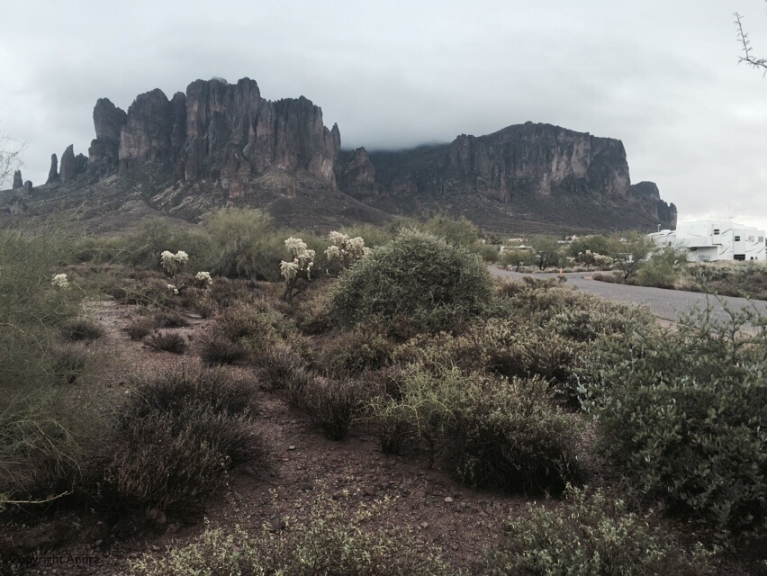 Superstitious Mountain still in the clouds.