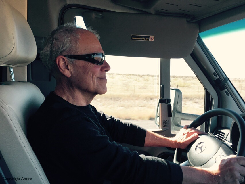 Andre's happy when he crosses into New Mexico!