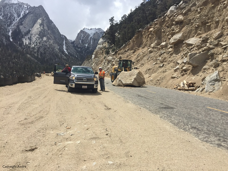 County clearing the rock slide.
