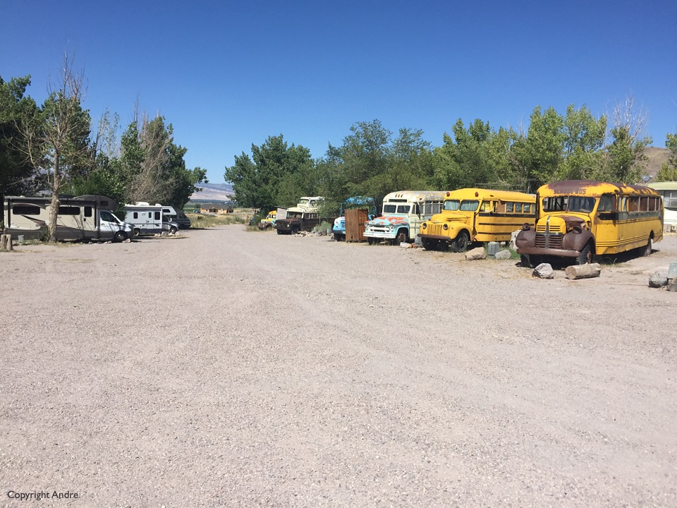 Campground area with the converted school buses on the right.