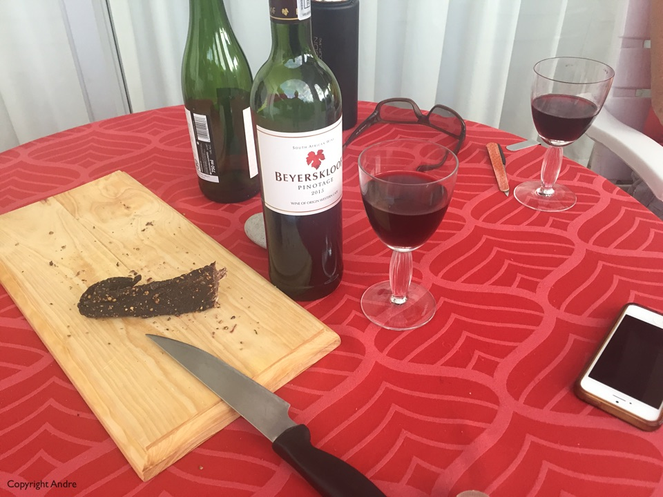 Cape Town welcome of Beyerskloof pinotage and some kudu biltong.