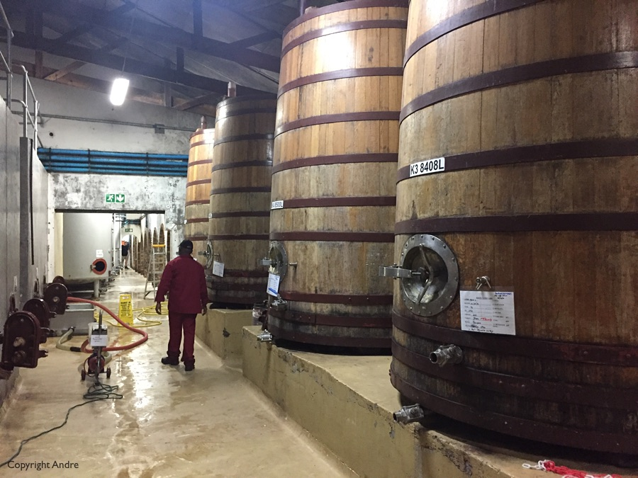 You pass some of the vats on your way to the tasting room.