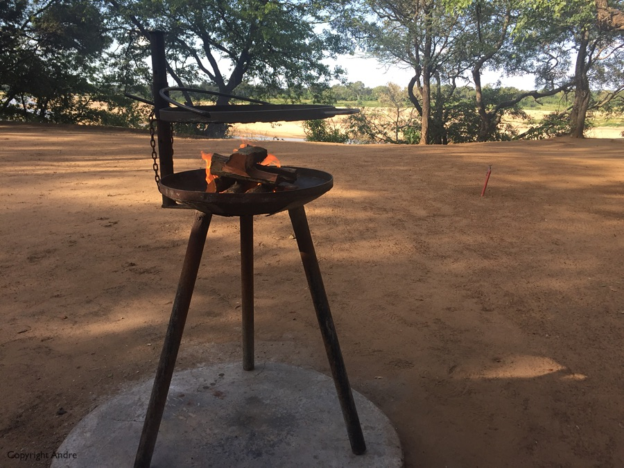 Having a braai at the Letaba camp.