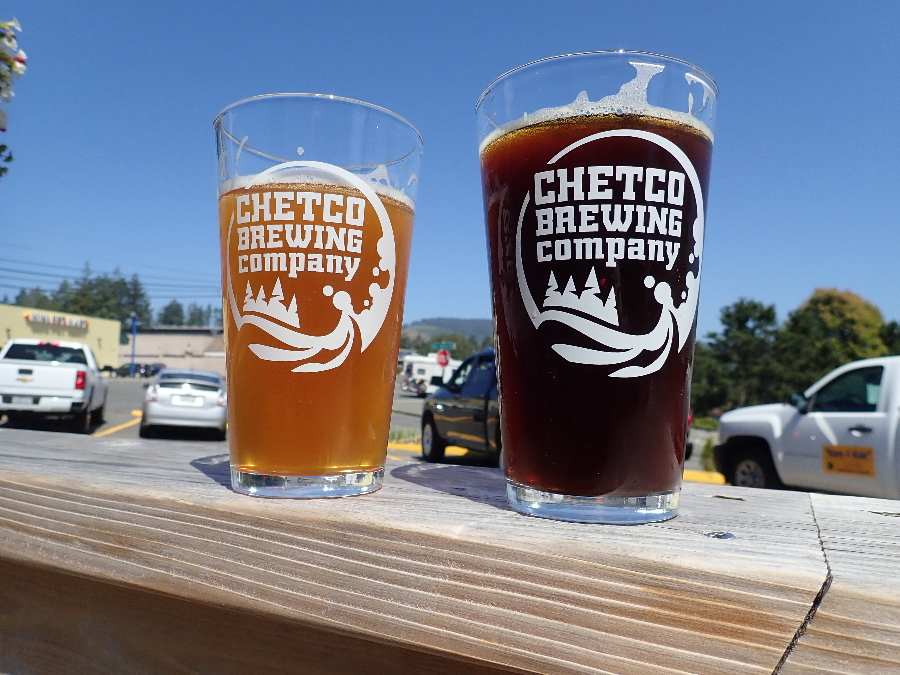 Chetco Brewery in Brookings. Thunder Rock IPA on the left and a Fathead Red on the right.